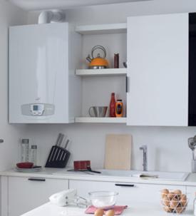 chaudière murale gaz condensation installée dans une cuisine