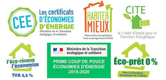 logos des aides à la rénovation énergétique