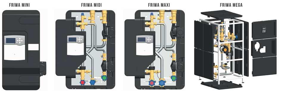 Différents modèles de la gamme Station Friwa pour de l'ECS instantanée en stockage primaire